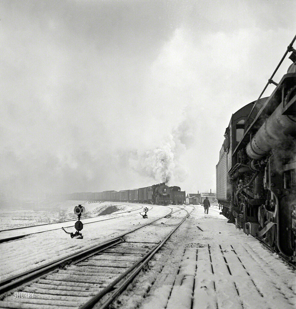 January 1943. Freight operations on the Indiana Harbor Belt railroad between Chicago and Hammond, Indiana
