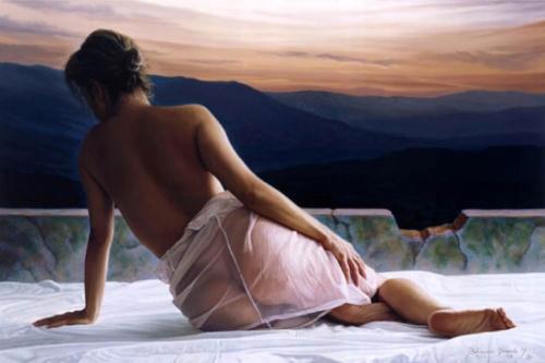 Слетают тихо лепестки у роз и стелят дни и ночи алым цветом... Колумбийский художник Белармино Миранда (Belarmino Miranda)