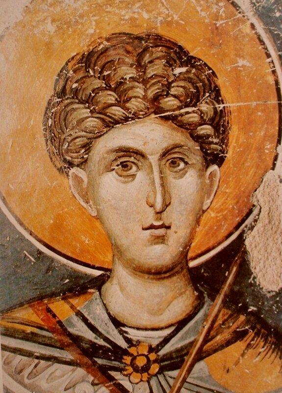 Святой Великомученик Димитрий Солунский. Фреска в церкви Св. Николая в Фессалониках, Греция. Начало XIV века.