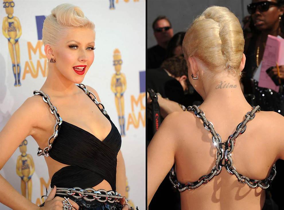 6. Кристина Агилера На сайте people.com говорится, что у певицы на теле пять татуировок, включая ее
