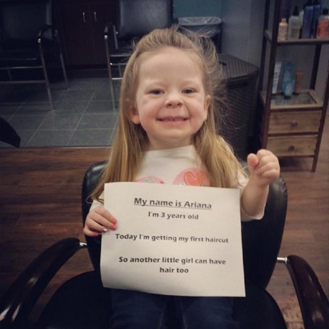 «Меня зовут Ариана. Мне 3года. Сегодня явпервые подстригусь, чтобы удругой маленькой девочки тоже