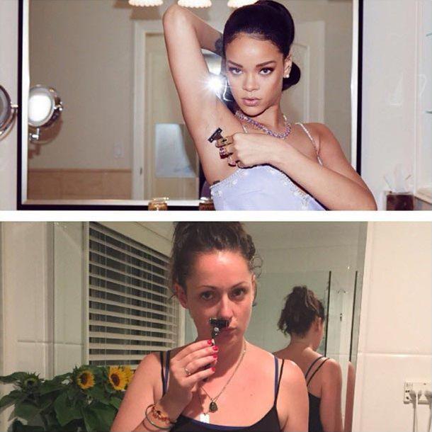 Девушка пародирует фотографии знаменитостей, чтобы показать насколько их фотографии тупые