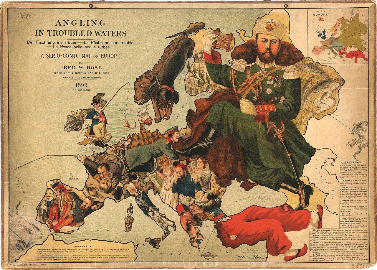 1899. «Рыбалка в мутной воде: шуточные карты Европы», Лондон