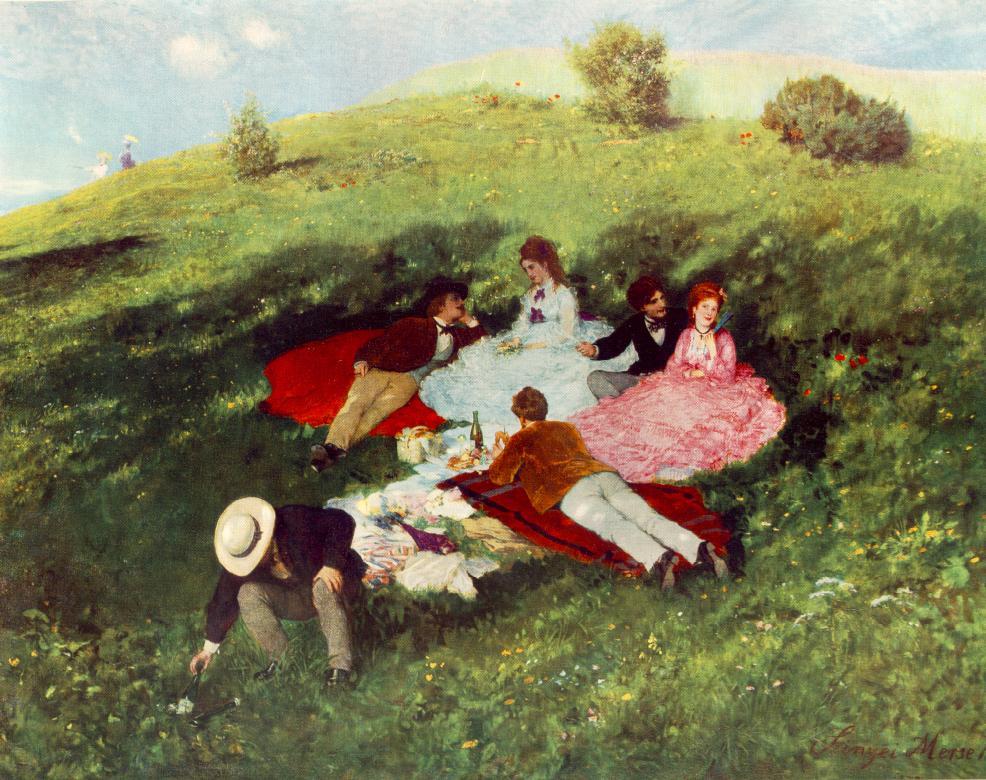 Picnic in May (1873).Szinyei Merse, Pál(1845-1920) Пикник в мае (1873).Синьеи-Мерше, Пал(1845-1920)