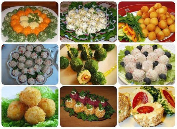 Подборка салатов в виде разных шариков