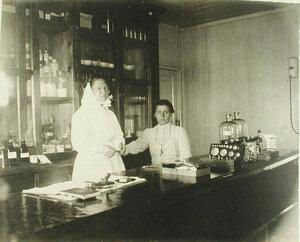 Медицинский персонал в аптеке баржи-лазарета Мраморного дворца