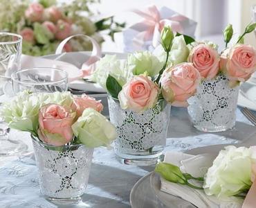 Цветы на свадебном столе
