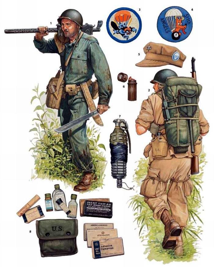 Вооружение и экипировка военнослужащих 503-го и 511-го парашютных пехотных полков армии США в юго-западной части Тихого океана (1944 - 1945 годы)