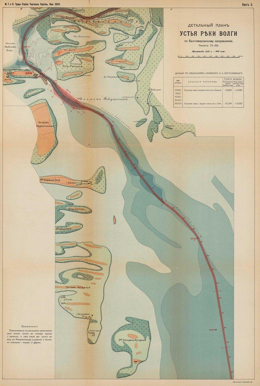 07. Детальный план устья Волги по Бахтемировскому направлению (пикеты 73-109)