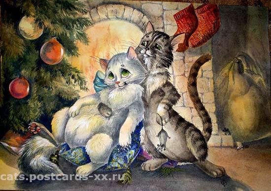 Кошачье счастье. Художник Виктория Чалова
