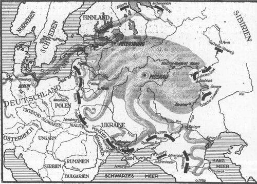 Угроза большевизма в изображении «Вельт-эхо» от 7. 3.1919 г.