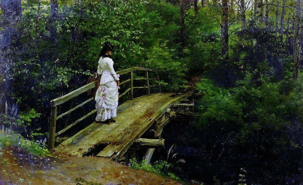 Летний пейзаж ( Вера Алексеевна Репина на мостике в Абрамцеве ). 1879.jpg