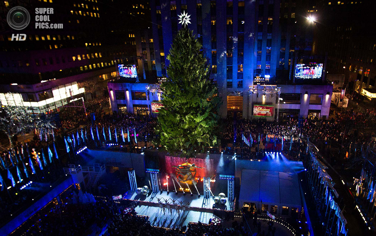 В Нью-Йорке зажгли рождественскую ёлку