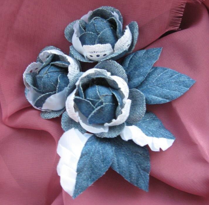 Цветы из джинса своими руками мастер класс видео