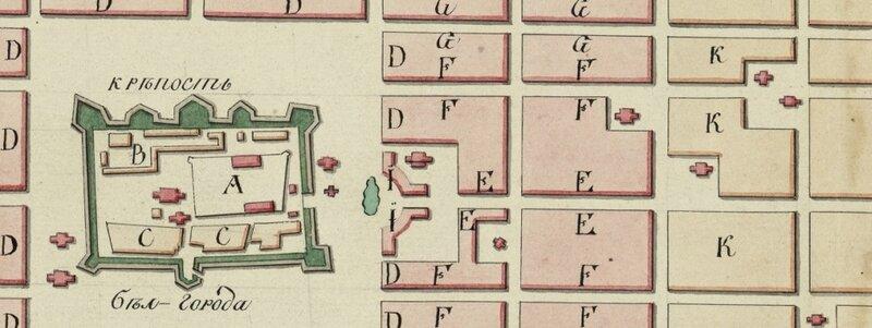Старинная карта Белгорода - Один из вариантов Плана Квасова