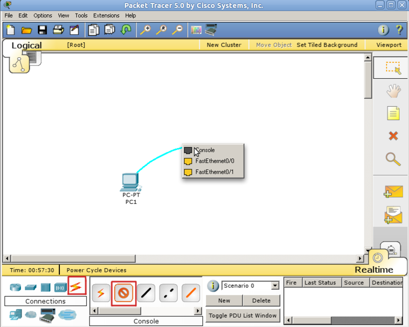 Packet tracer console