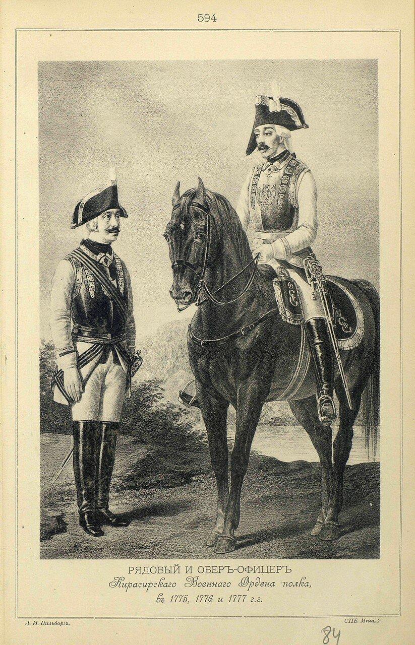 594. РЯДОВОЙ и ОБЕР-ОФИЦЕР Кирасирского Военного Ордена полка, в 1775, 1776 и 1777 гг.