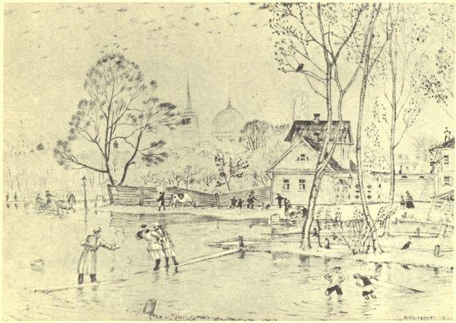 Kustodiev Весна. Автолитография