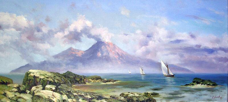 Неаполитанский залив .Вид на Везувий