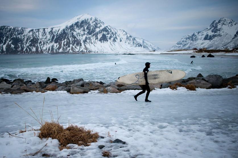 Считается, что залив Unstad Bay, имеющий одни из самых красивых пейзажей в Скандинавии.