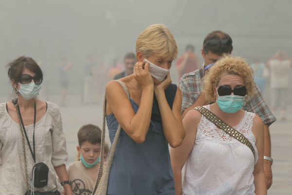 Запах гари отлесных пожаров вТомской области дошел доНовосибирска