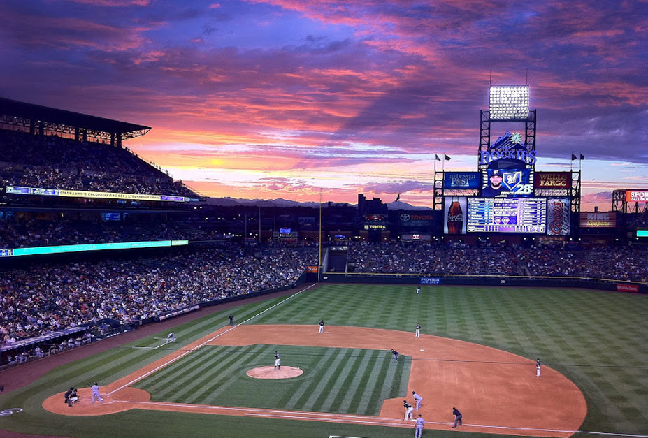 красивые закаты на бейсбольных стадионах / baseball park sunset - denver, colorado, coors field