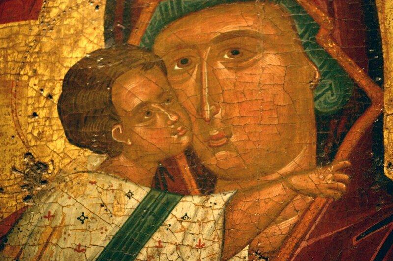 Богоматерь Елеуса. Икона XV века. Византийский музей в Афинах. Фрагмент.