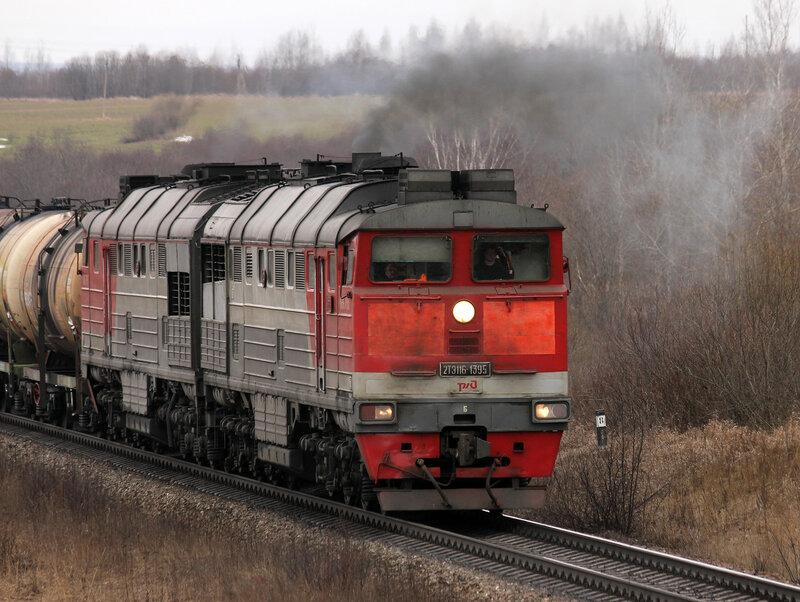 2ТЭ116-1395 на перегоне Выдумка -  Новосокольники