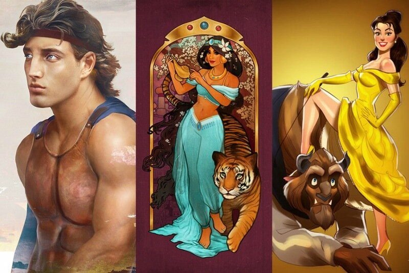 Коллекция: герои Диснея в разных образах   от реалистичных портретов до ню и аниме