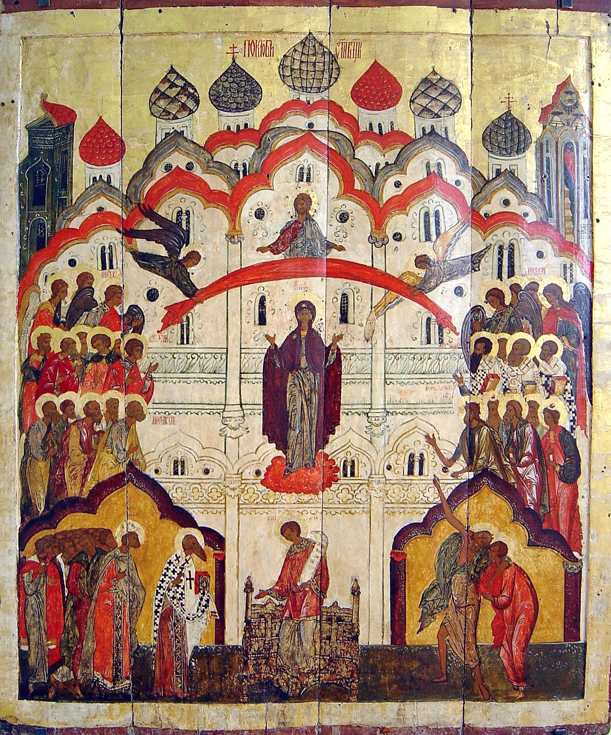 Покров Пресвятой Богородицы. Икона XVI века.