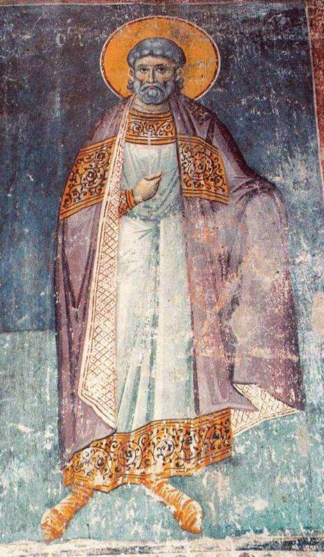 Святой мученик Амфиан. Фреска конца XIII века в монастыре Протат на Афоне. Иконописец Мануил Панселин.