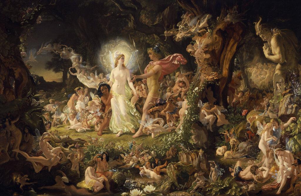 Joseph Noel Paton, 1821-1901. Ссора Оберона и Титании. 1849. 99 х 152 см. Эдинбург, Национальная галерея Шотландии.jpg