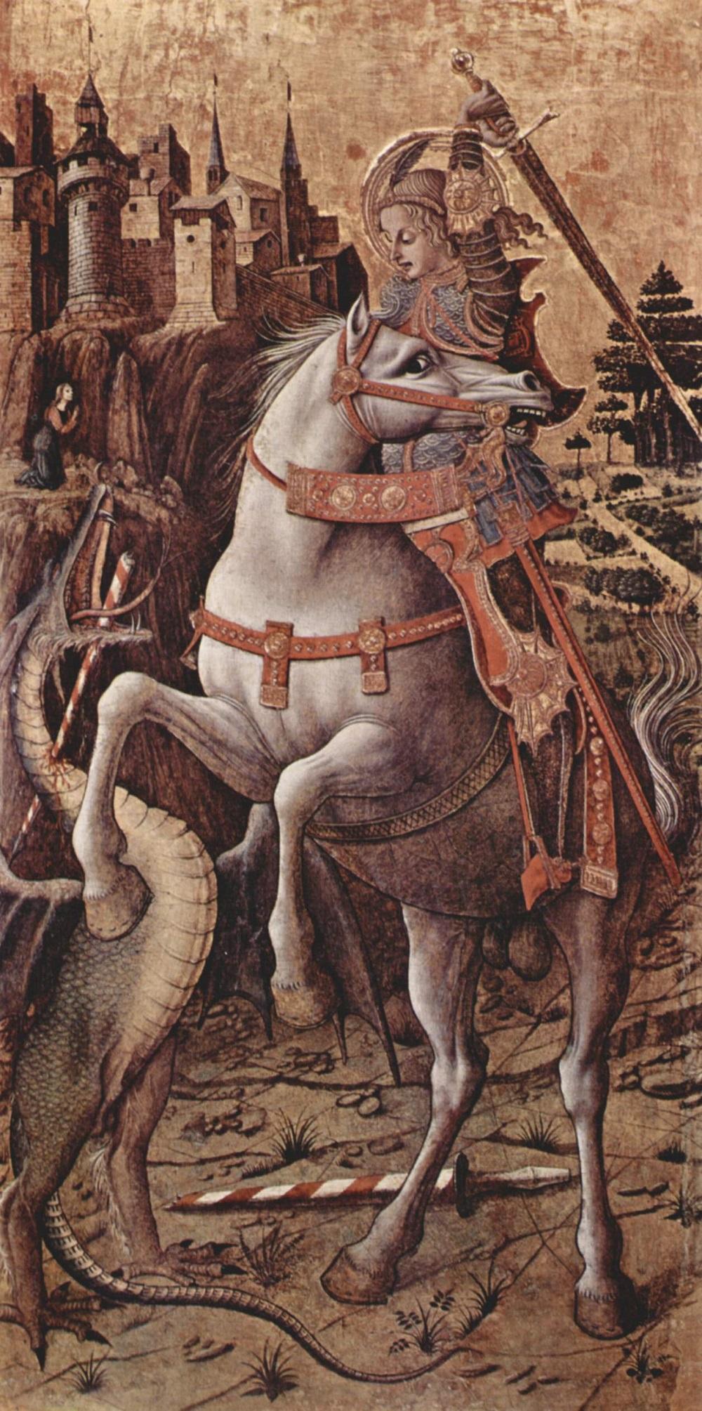 1450 Карло Кривелли (ок. 1430-1495) Алтарный полиптих приходской церкви в Порто Сан Джорджио, правая доска, св. Георгий.jpg