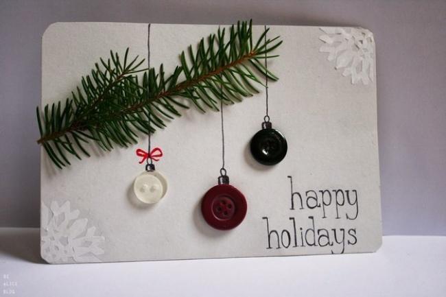 Дух (иаромат) Нового года передаст открытка снастоящей еловой веточкой. Пуговицы издесь пригодятс