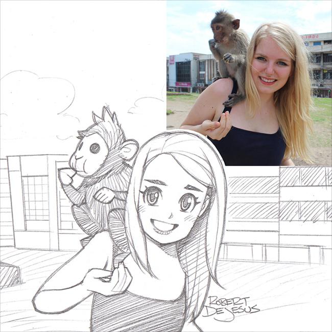 Художник рисует мультяшные версии людей