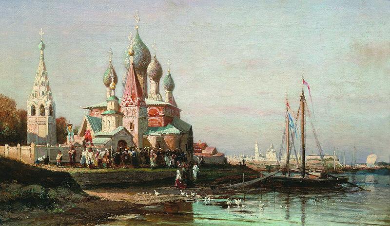 А. Боголюбов (1824-1896). Крестный ход в Ярославле. 1863. Холст, масло