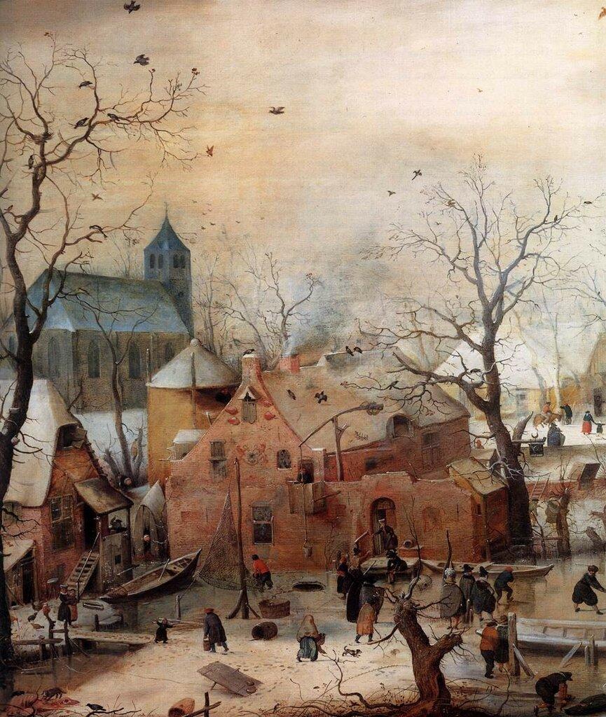 Winter landscape with skaters_fragment, Hendrick Avercamp, ca 1608.jpg