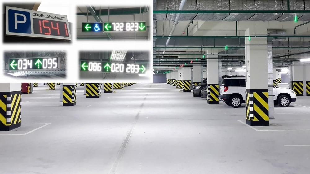 Зеленые икрасные лампочки, расположенные над каждым парковочным местом взависимости отзагоревшего