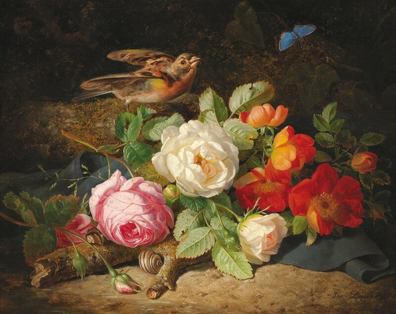 Цветочный натюрморт с малиновкой и голубой бабочкой