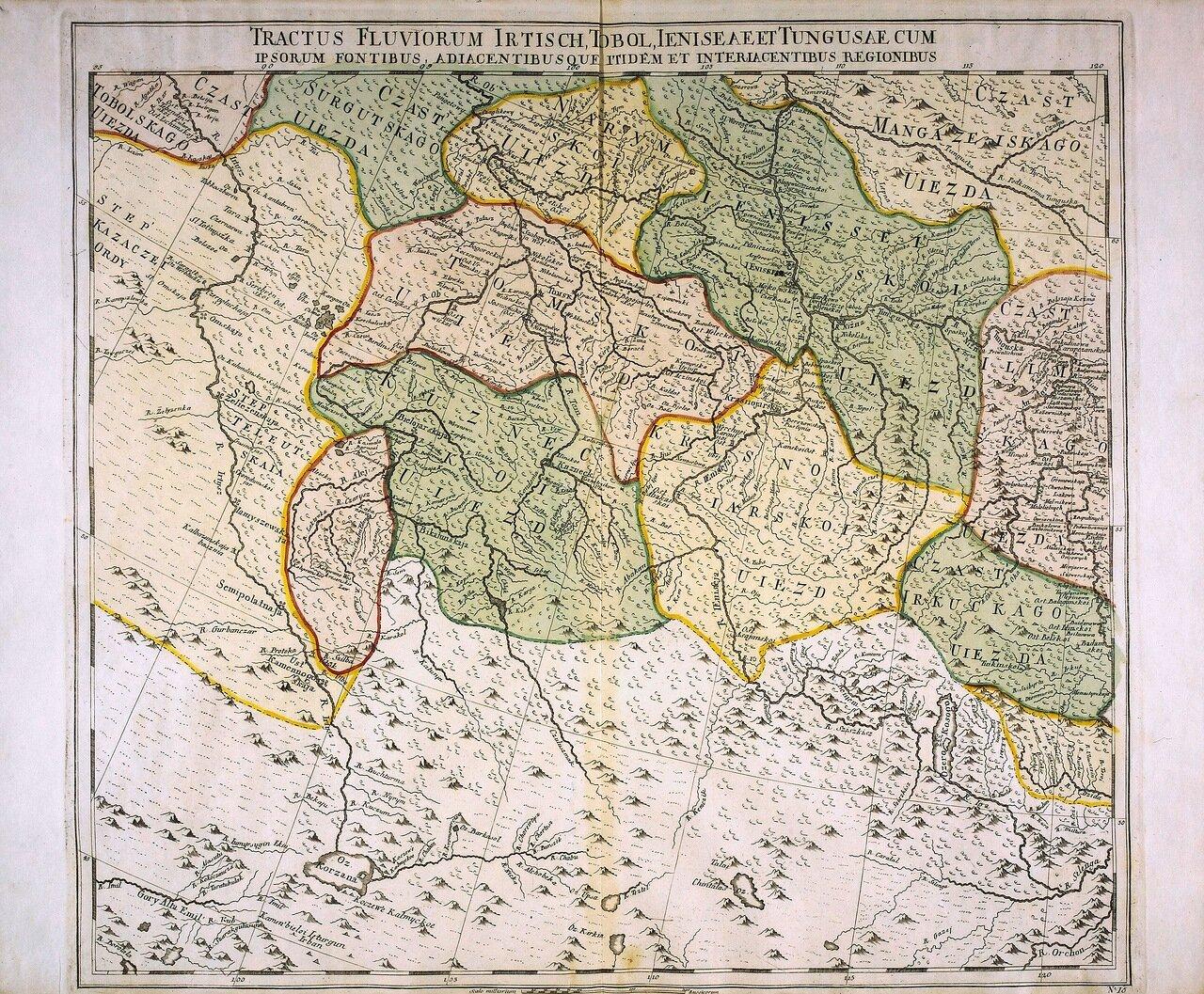 1745. Карта рек Иртыша, Тобола, Енисея и Тунгуски с их источниками и окружающими территориями