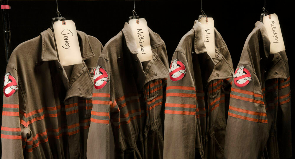 The uniforms on set of Columbia Pictures' new GHOSTBUSTERS movie.
