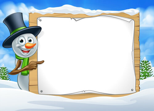 Cartoon Snowman Sign Scene