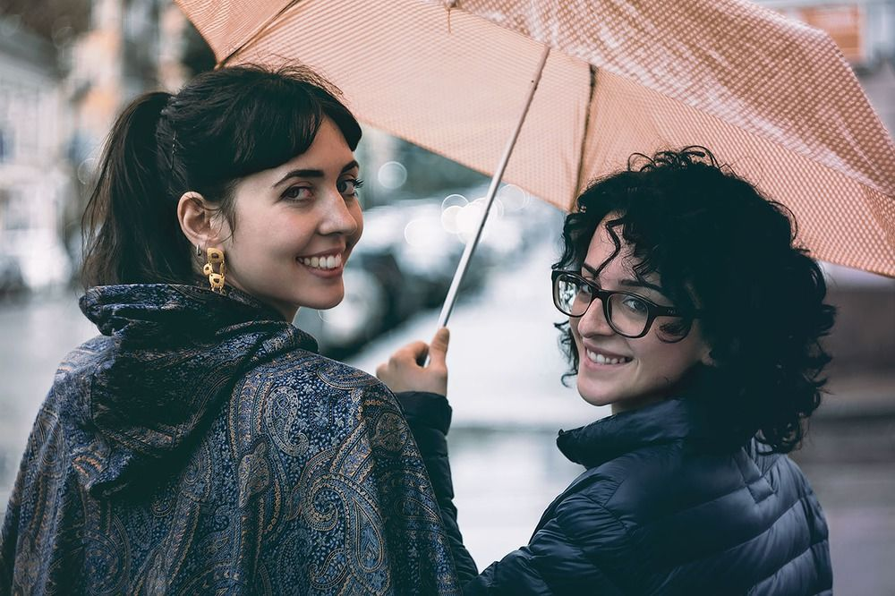 Девушки Подружки под зонтиком идут