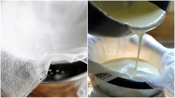 8. Концы ткани соедини и подвесь, чтобы стекласыворотка. Если ты делала однажды домашний творог