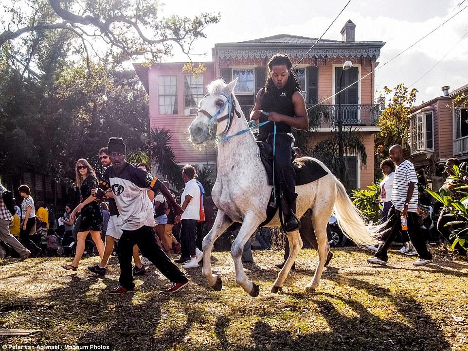 Мужчина верхом на лошади во время парада, Новый Орлеан, 2012 год.