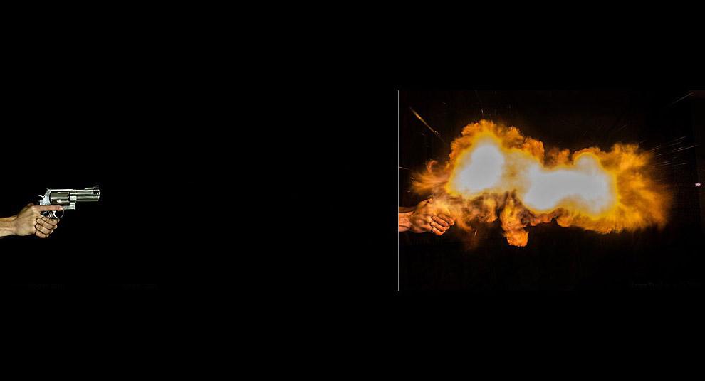 Рядом с летящей пулей видны крошечные частицы свинца: