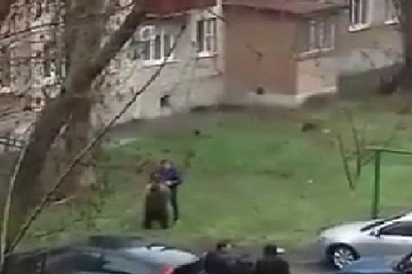 ВТаганроге сняли навидео выгуливающего медведя мужчину