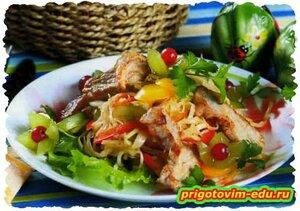 Салат со свининой и виноградом