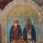 """Фреска """"Преподобные Ефрем и Евфимий""""."""