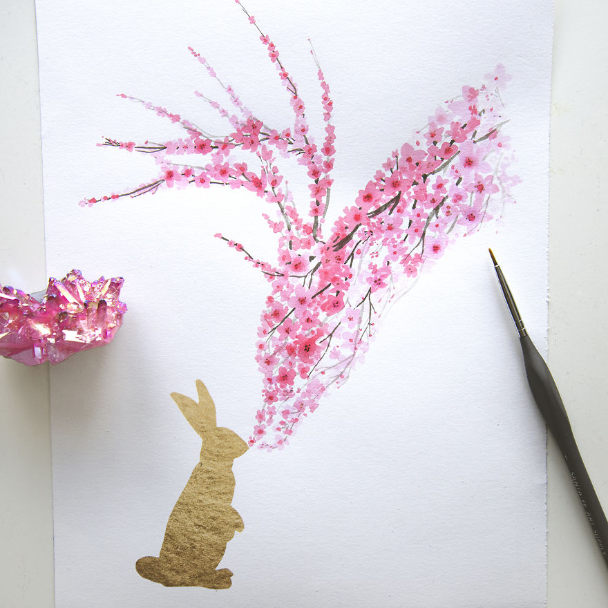 Enchanting Animal Silhouettes Shaped with Painted Cherry Blossoms (6 pics)